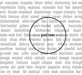 Cross hairs fucused on word 'good news'.