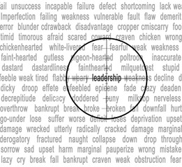 Cross hairs fucused on word 'leadership'.