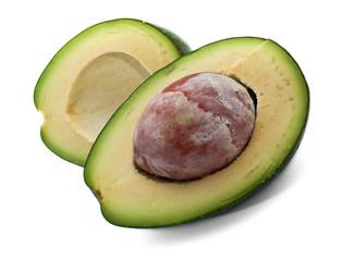Ripe avocado isolated on white