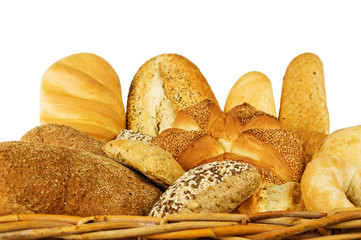 Fresh mixed bread on a white background