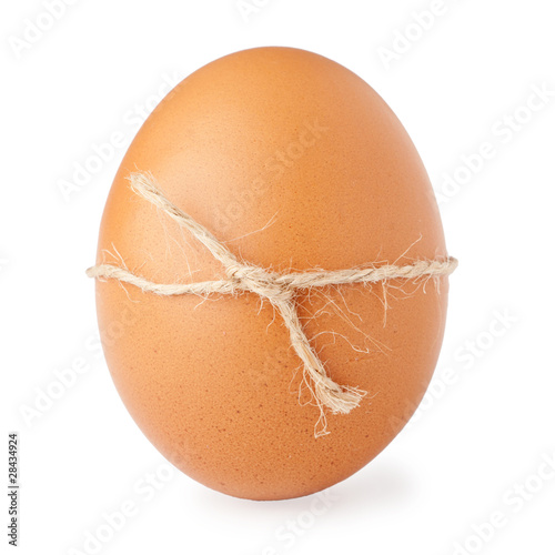 Egg lined out with a twine