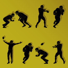 Colorful american football player silhouettes vector set
