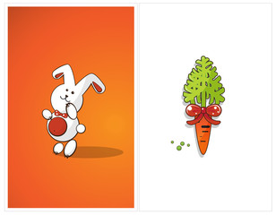 Shy bunny and carrot