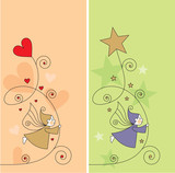greeting card with elves, hearts and stars poster