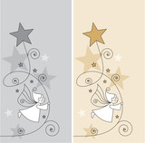 greeting card with elves and stars poster