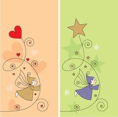 greeting card with elves, hearts and stars