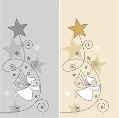 greeting card with elves and stars