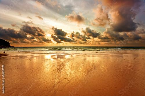 Leinwanddruck Bild Tropical sunset on the beach. Thailand