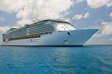 huge luxury cruise liner in caribbean waters