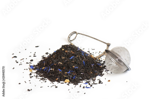 canvas print picture Black tea flavored with bergamot and cornflower