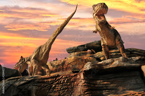 Statue model dinosaur in zoo. thailand