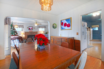 Dining room in an old house during holidays