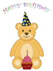 Birthday Teddy Bear with Party Hat and Cupcake