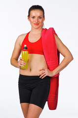 woman with energy drink bottle
