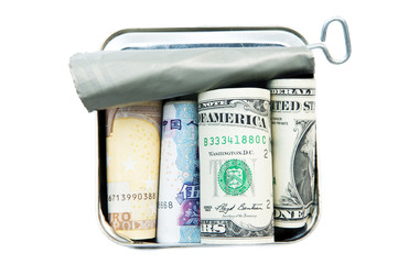 Money in tin can