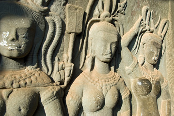 Goddess statue in Ankor Wat temple,Cambodia