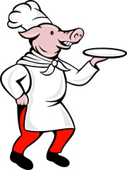 cartoon pig chef cook baker serving platter