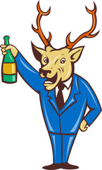 deer holding champagne wine bottle