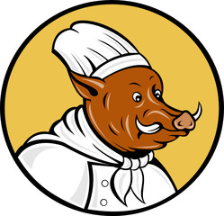 cartoon chef wild boar pig looking to side