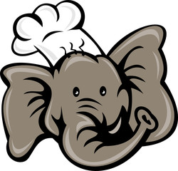 cartoon chef cook baker elephant