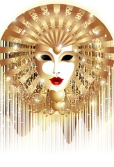 Maschera d'Oro Fondo-Golden Mask Background-2-Vector