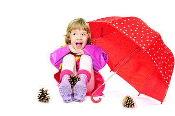 laughing girl with umbrella