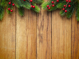 Fototapety Christmas fir tree on wooden board