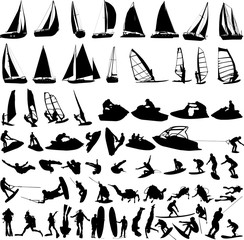 water sports collection - vector