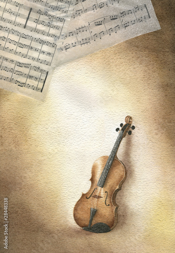 Acquerello con violino e spartito musicale