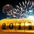 Silvester Feuerwerk auf blauem Hintergrund 2011