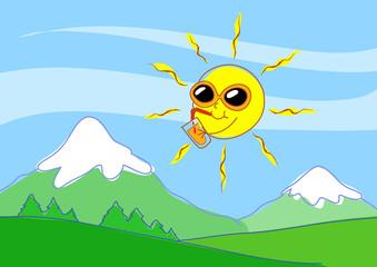 Estate in montagna. Sole umoristico con occhiali e bibita