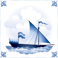 Ship on Dutch tile 2, Galley