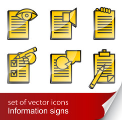 set informational sign icon
