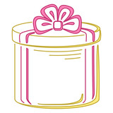 Gift box round, pictogram poster