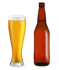 Bottle and glass with beer on white background. Vector.