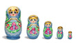 Blue russian nesting dolls in line