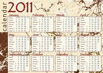 calendario 2011 in inglese con macchie di cioccolato