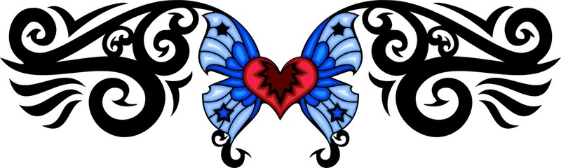 Red heart with two blue wings. Tribal butterfly tattoo.