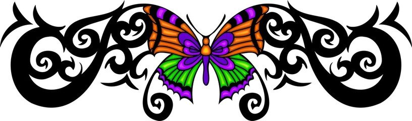 The butterfly with orange wings in the centre .