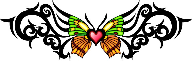 The butterfly with green and yellow wings in the centre .