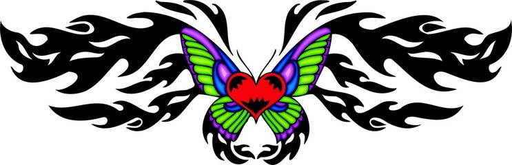 Red heart with green and violet wings .
