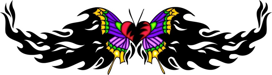 Heart with violet wings in the centre of a black pattern.