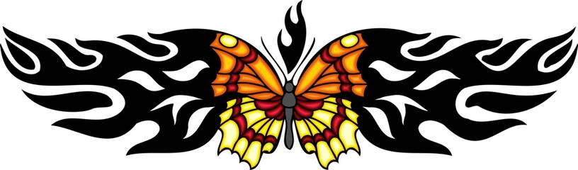 The butterfly with orange and yellow wings in centre of