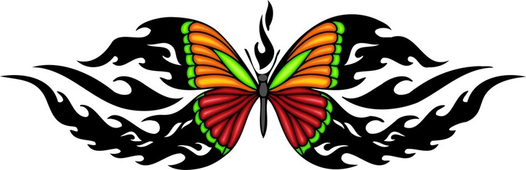 The butterfly with red and orange wings.