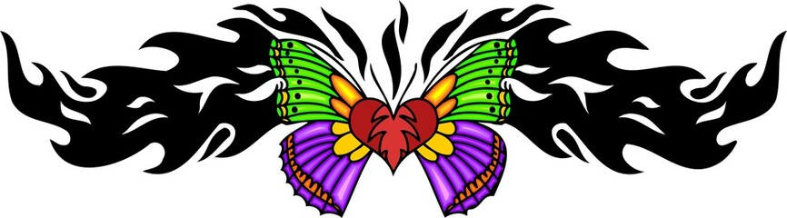 Heart with green and pink wings in the centre.