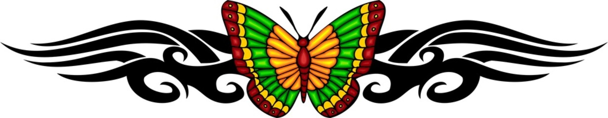 The butterfly with it is yellow green wings in the centre.