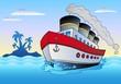 Steamship sailing in sea