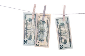 Dollars on string.