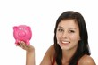 Gorgeous Woman with Piggy Bank