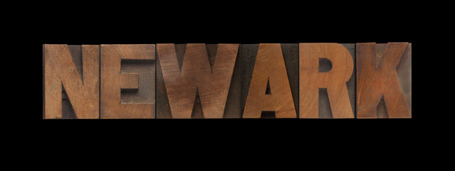 the word Newark in old letterpress wood type